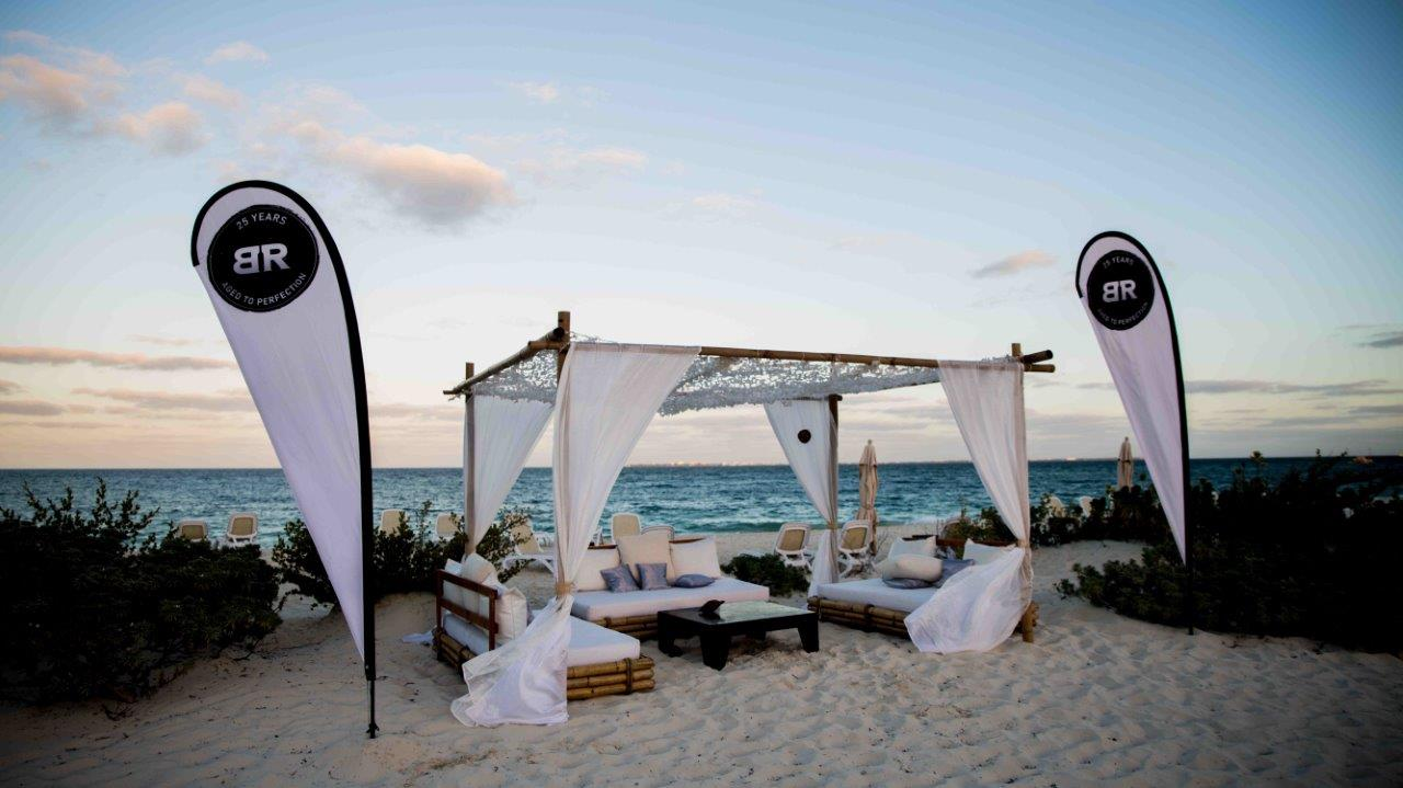 Baton Rouge Restaurant national sale tent on a sandy beach in Cancun