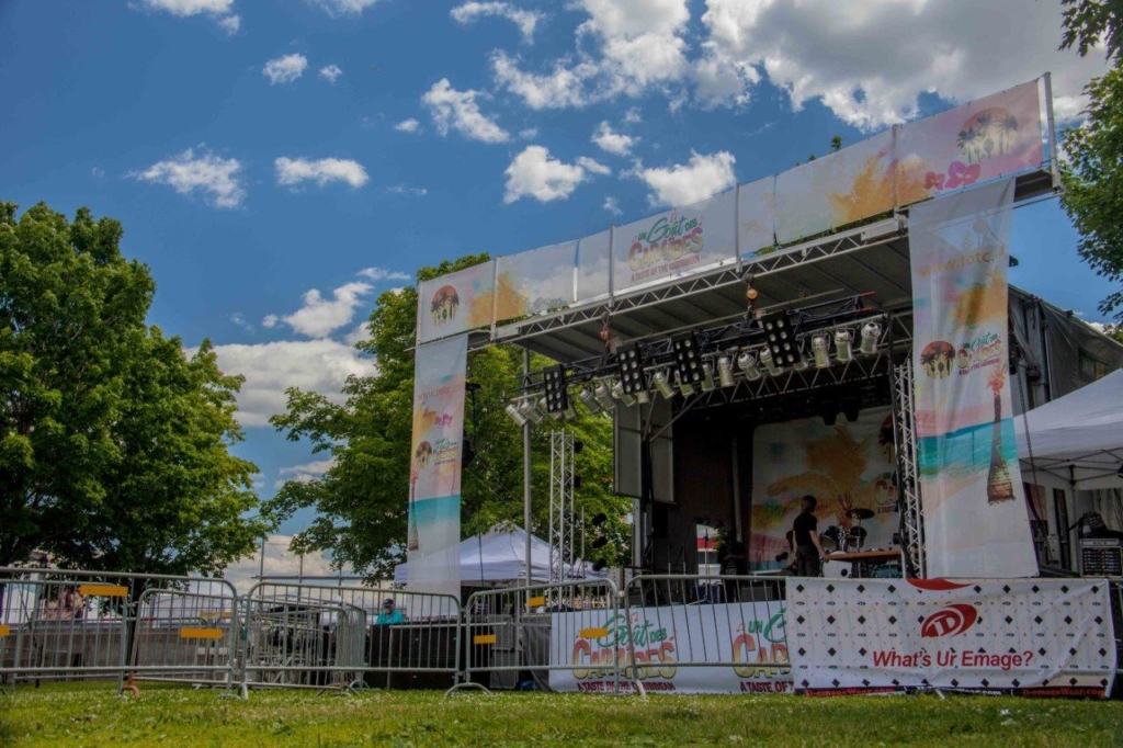 Outside stage for the taste of the Caribbean festival