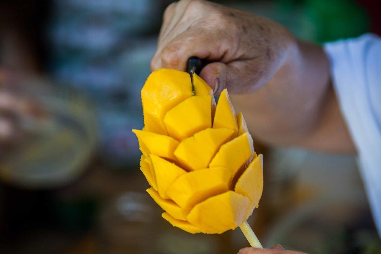 A hand holding a mango