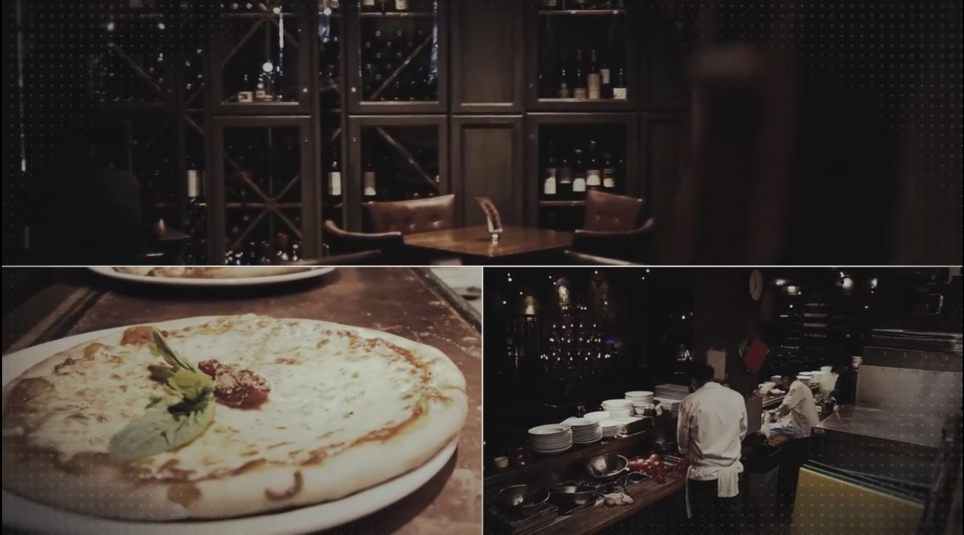 Wienstein & Gavino's commercial screenshot pizza sitting on top of a table